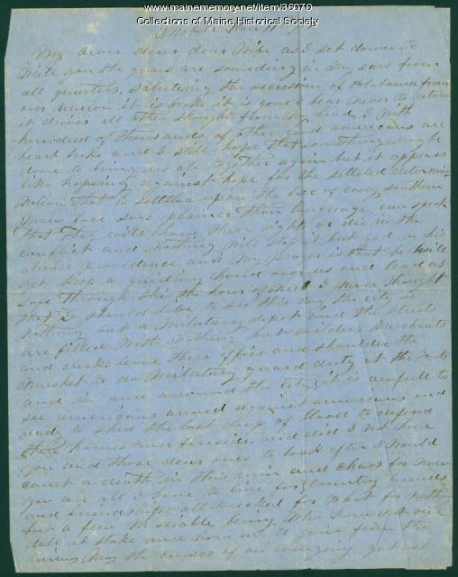 Capt. John Curtis letter from Mobile, 1861
