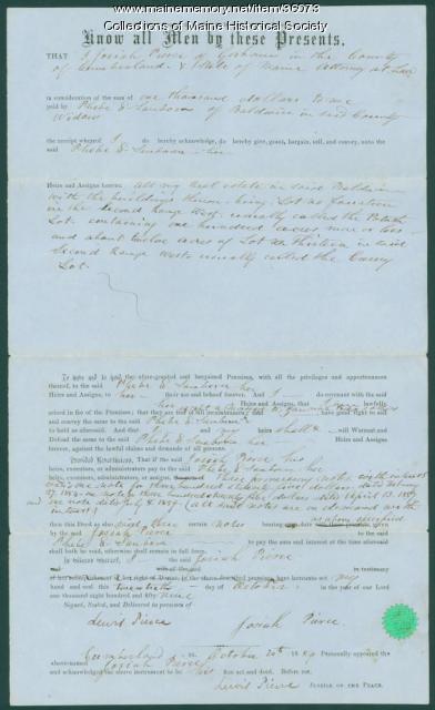 Baldwin deed to Phebe Sanborn, 1859