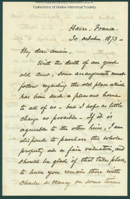 Josiah Pierce to Phebe Sanborn, 1873