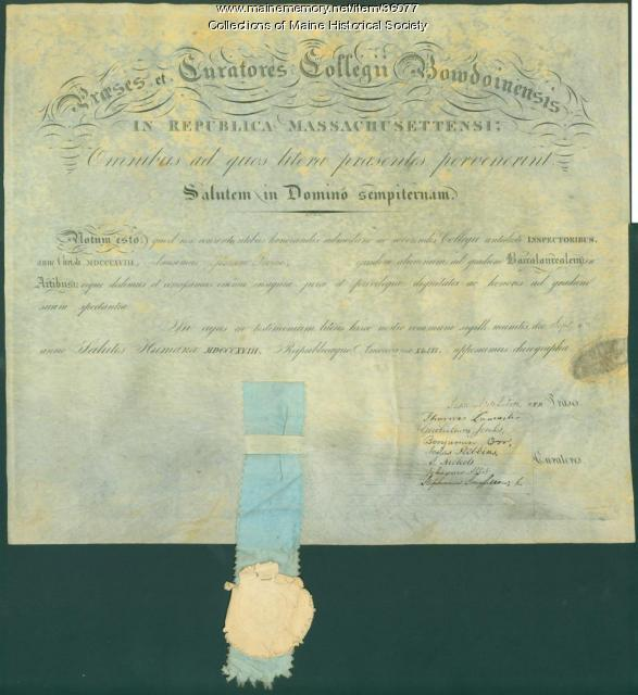 Josiah Pierce diploma, Bowdoin College, 1818