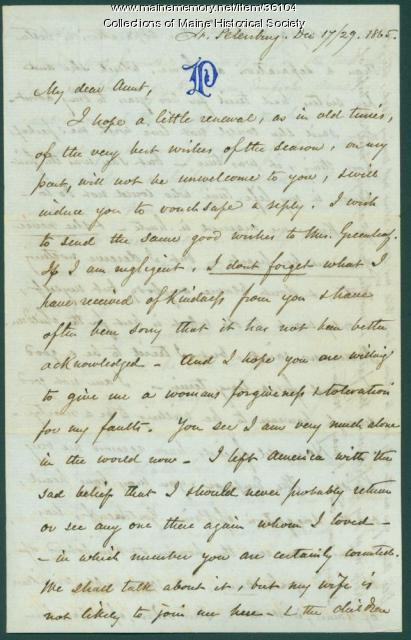 Josiah Pierce to Anne Pierce, Russia, 1865