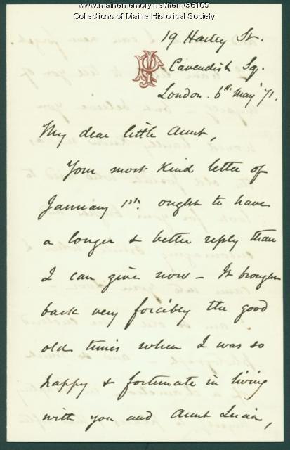 Josiah Pierce to Anne Pierce, London, 1871