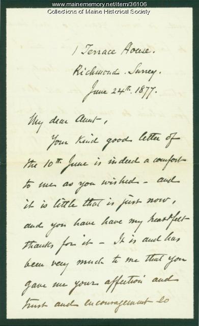 Josiah Pierce on death of daughter, 1877