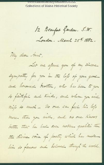 Josiah Pierce of death of H.W. Longfellow, 1882