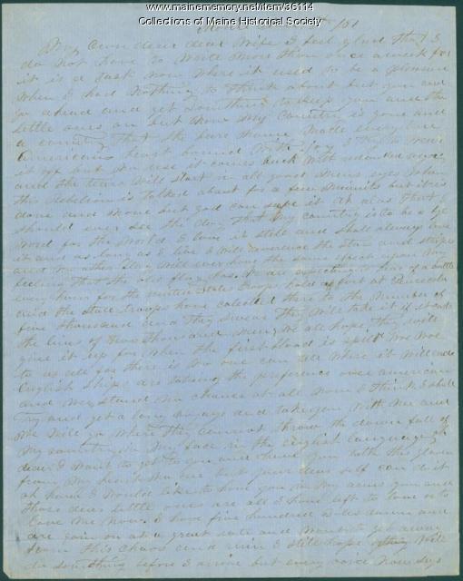 Capt. John Curtis on secession, Mobile, Ala., 1861