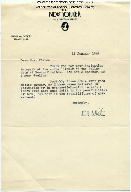 E.B. White letter to Katharine Pierce, 1947