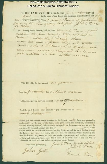 Hannah Pierce lease for farm, Baldwin, 1842