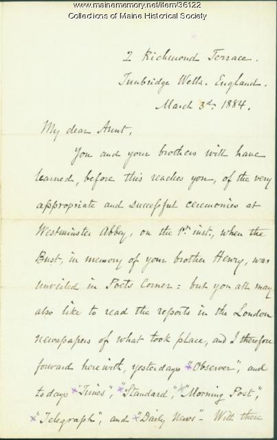 Josiah Pierce on Longfellow bust ceremony, London, 1884