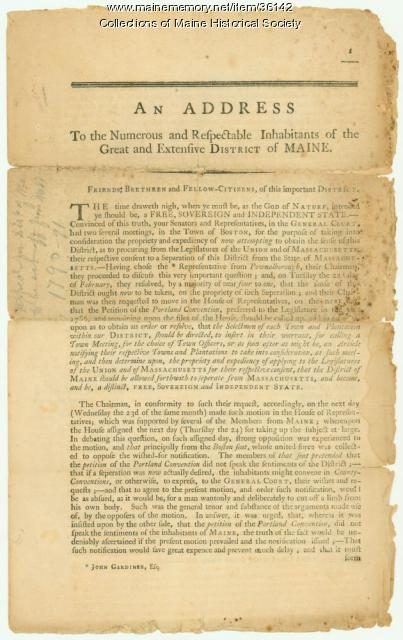 Appeal for District of Maine to be set off from Mass., 1790-91