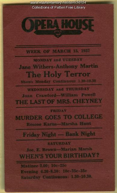 Bath Opera House advertisement, March, 15, 1937