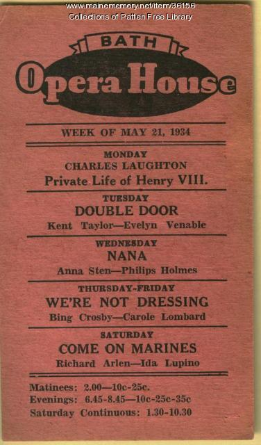 Bath Opera House advertisement, May 21, 1934
