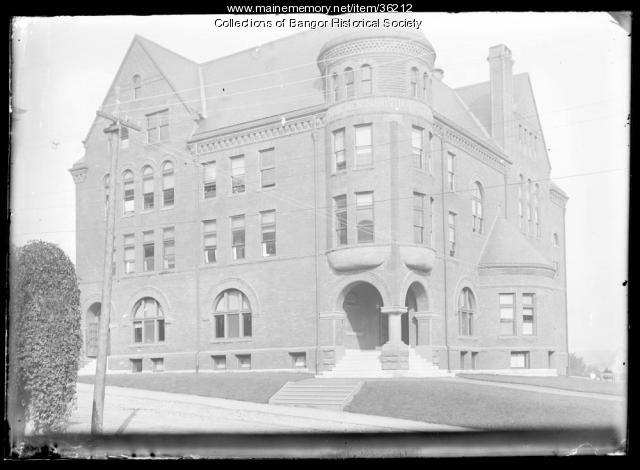 Corner view of the first YMCA in Bangor, ca. 1895