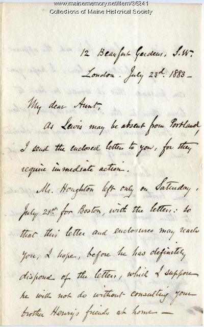 J. Pierce on need for action on Longfellow bust letters, London, 1883