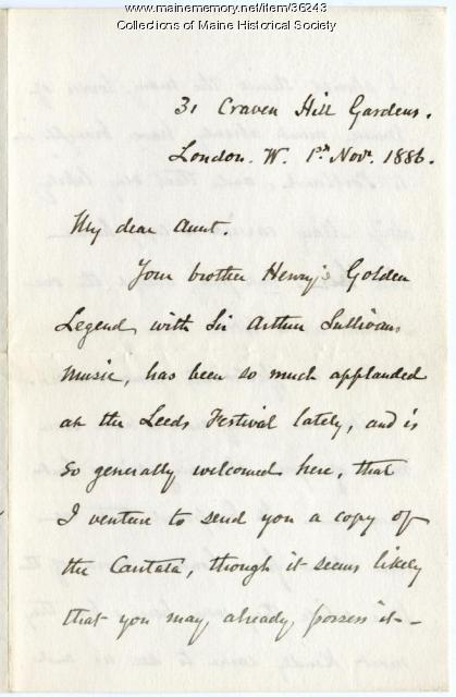 Letter about Longfellow poem set to music, London, 1886