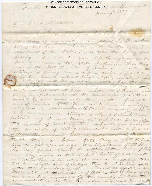 Ebeneezer Greely letter from jail, New Brunswick, 1837