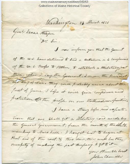 Sen. John Chandler letter on troops to Houlton, 1828