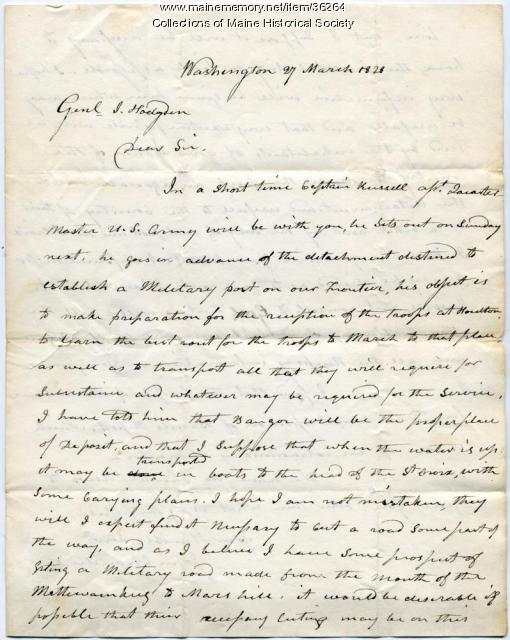 Letter on troops to Houlton, 1828