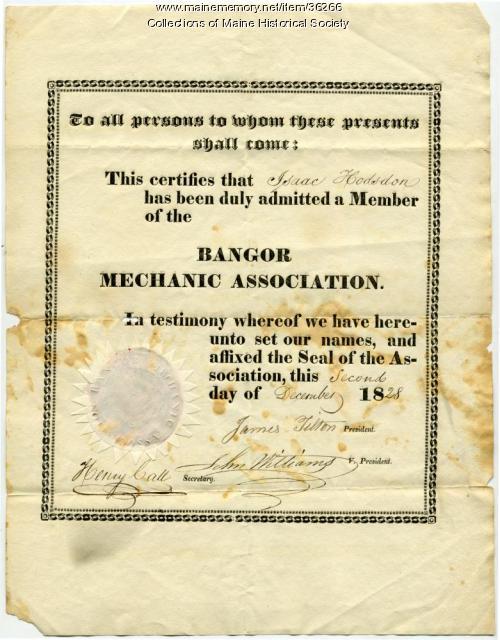 Isaac Hodsdon Bangor Mechanic membership, 1828
