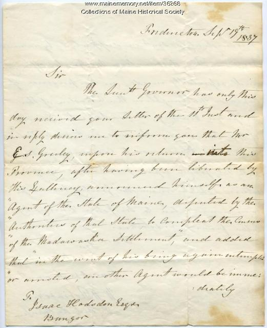 Letter concerning Madawaska census, 1837