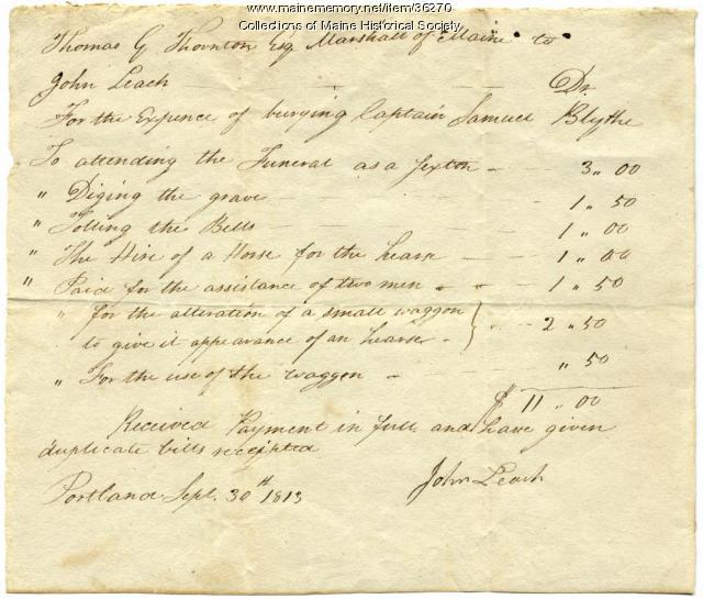 Expenses for Capt. Blyth burial, Portland, 1813