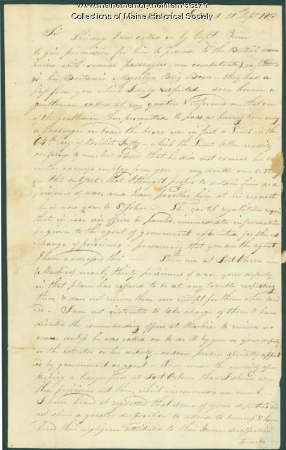 Letter concerning 'Boxer' prisoners, Eastport, 1813