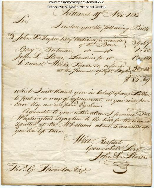 Bill for treating injured British sailors, Portland, 1813