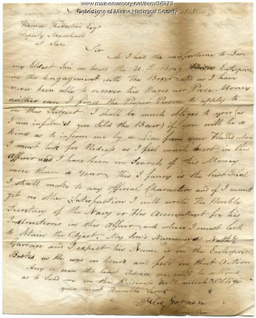 Letter concerning redress for killed son, 1815