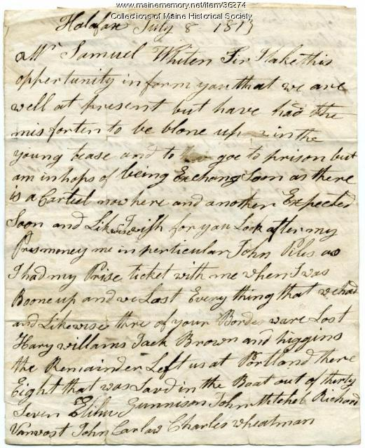 Sailor account of attack on ship, Halifax, Nova Scotia, 1813