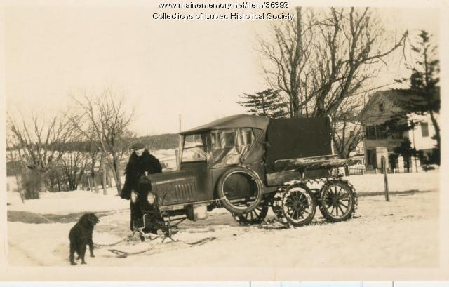 Mail carrier and vehicle, Lubec, ca. 1930