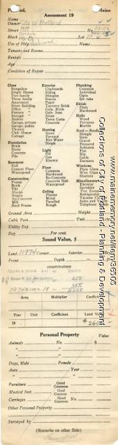 Assessor's Record, 53-59 Pitt Street, Portland, 1924
