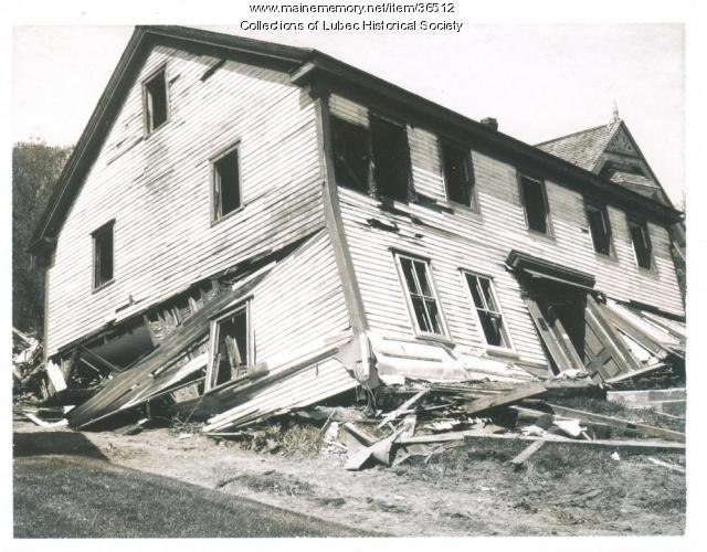 Historic house demolition, Lubec, 1977