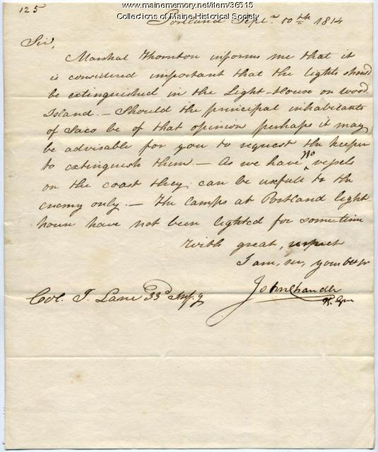 Letter concerning extinguishing Wood Island Light, 1814