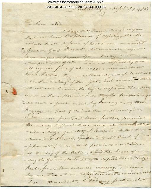 Capt. Densmore on Plattsburgh victory, 1814
