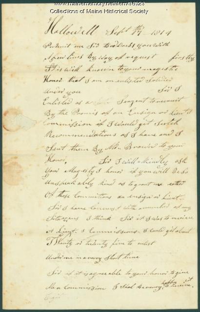 Noah Parkman request for military promotion, Hallowell, 1814