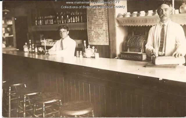 Restaurant counter, Biddeford, ca. 1910