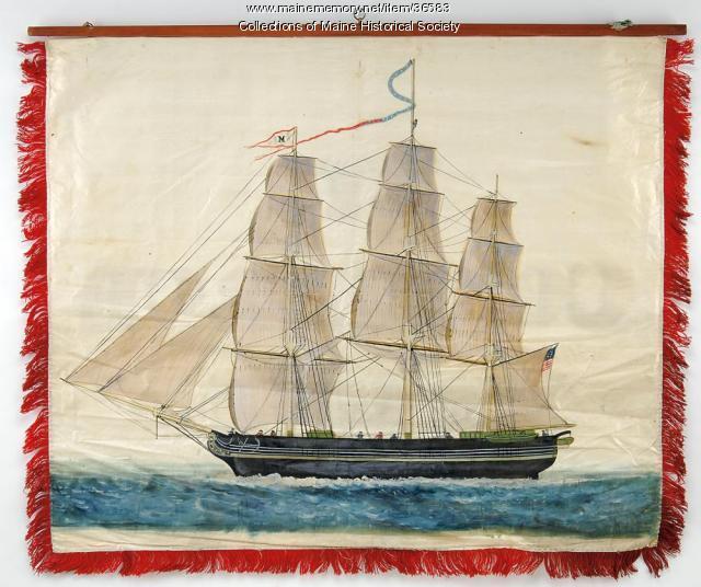 Ship Builders trade banner, Portland, 1841