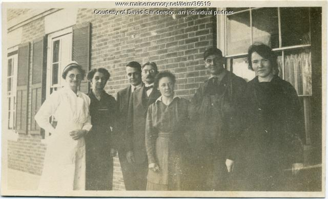 Nurse and patients, Hebron Sanatorium, ca. 1914