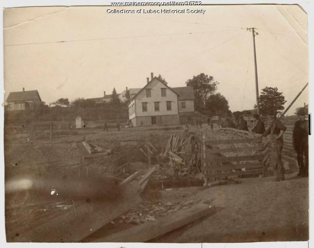 House above canal bridge, Lubec, ca. 1898