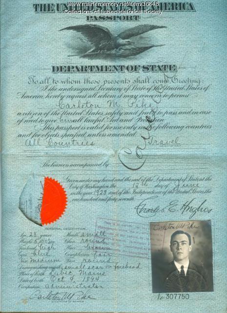 Passport, Lubec, 1923