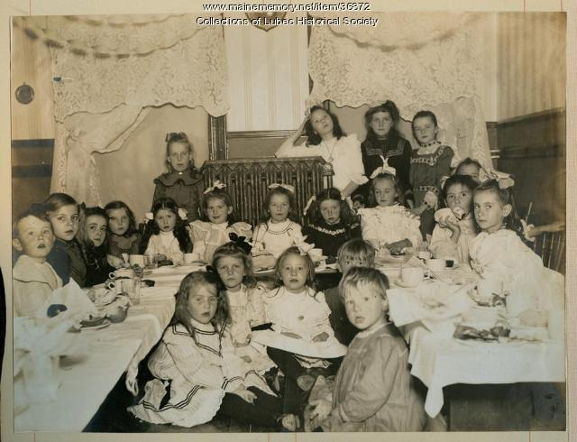 Marjorie Pike's birthday party, Lubec, ca. 1898