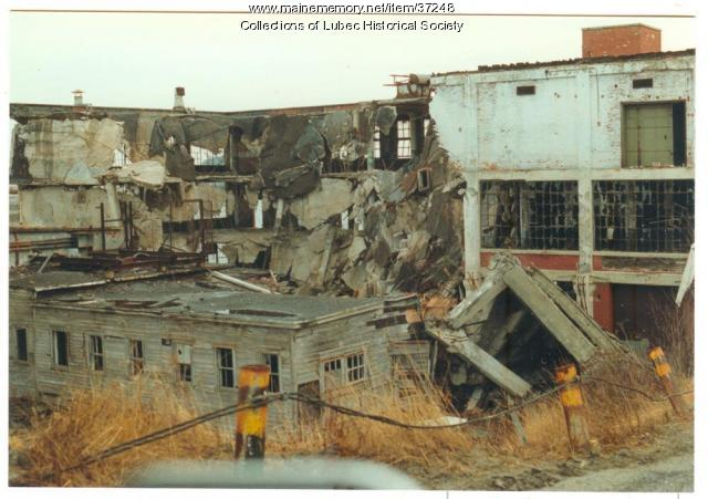 American Can plant demolition, Lubec, 1993