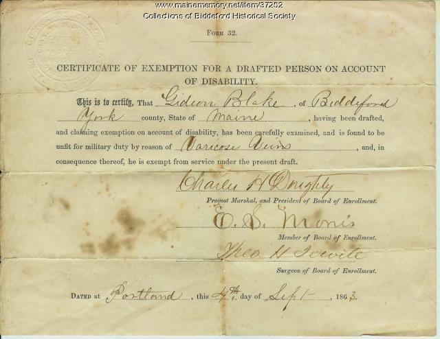 Gideon Blake Civil War exemption, Biddeford, 1863 - Maine Memory Network