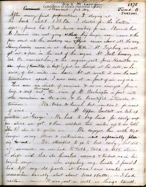 John M. Gould account of Carrigain hike, 1875