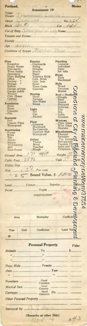 Assessor's Record, 62 Concord Street, Portland, 1924