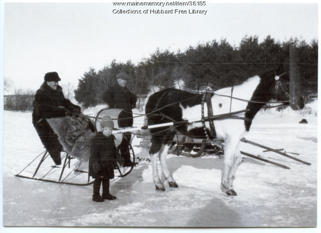 Ice harvesting, Cascade Pond, Hallowell, 1928