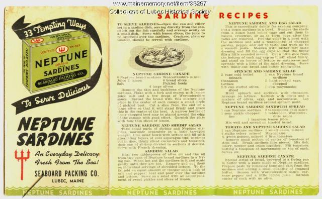 Sardine recipe folder cover, Lubec, ca. 1946