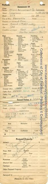 Assessor's Record, 571 Congress Street, Portland, 1924