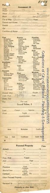 Assessor's Record, 139 High Street, Portland, 1924