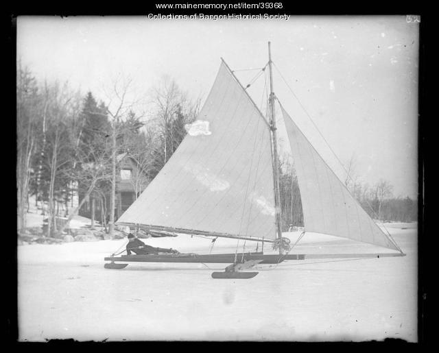 Ice boat on Lake Pushaw, ca. 1895