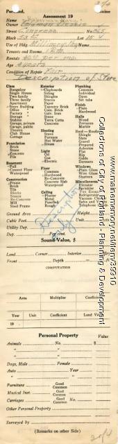 Assessor's Record, 865 Congress Street, Portland, 1924